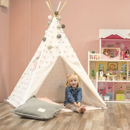 wigwam tipi teepee indianentent sterren roze wit